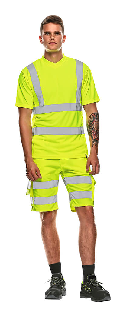MASCOT® SAFE CLASSIC Shorts & T-shirt - Model - Fluorescerende gul
